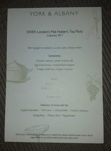 York & Albany hade tryckt upp speciella menyer för vårt afternoon tea.